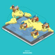 Stock Illustration of Remote managing isometric flat vector concept.