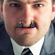 Businessman predator - stock photo