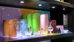 Showroom crystal displays at the Waterford Crystal Factory, Waterford, Ireland Stock Footage