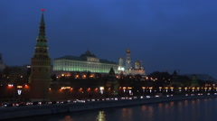 Moscow Kremlin at night Stock Footage