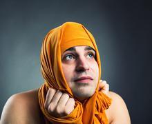 Funny man weared yellow textile Stock Photos