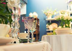 Served fashion table with glases - stock photo
