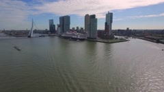 Aerials Rotterdam Cruise ship and skyscrapers on pier Stock Footage