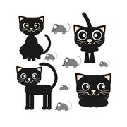 Flat vector icon of a black cat sitting and looking Piirros