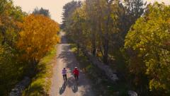 4K Aerial: Recreation Cycling in Nature Stock Footage