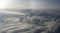 Clouds from Airplane, Beautiful golden clouds during sunrise 4k UHD - stock footage