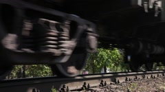 The wheels of the freight cars ride on rails Stock Footage