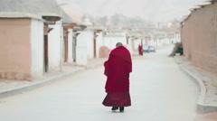 Tibetan Buddhist monks at Labrang Monastery Stock Footage