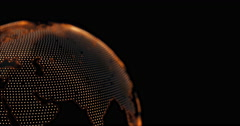 Pixel 3D planet Earth animation. Rotating globe, shining continents. Stock Footage