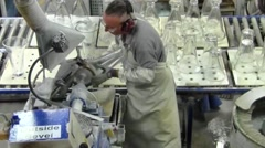 Polishing Waterford Crystal at the Crystal Factory, Waterford, Ireland Stock Footage