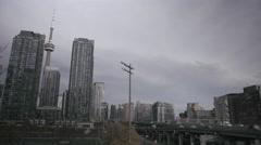 Toronto CN Tower & Gardiner Expressway Stock Footage
