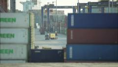 View Through Containers In The Cargo Port Stock Footage