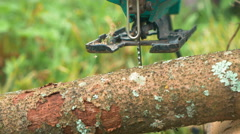 Processing log of wood with electric jigsaw - stock footage