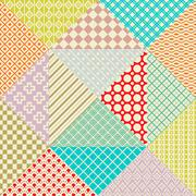 Retro patchwork. 16 seamless patterns. Endless texture - stock illustration