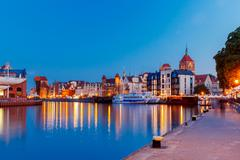 Gdansk. Central embankment at night - stock photo