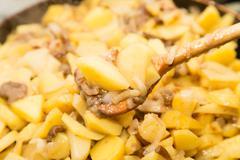 Fried potatoes with mushrooms Stock Photos