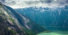 View on Eidfjord From Kjeasen Mountain Farm, Norway  - Tilt Down Stock Footage