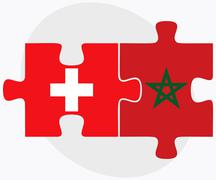 Switzerland and Morocco Flags - stock illustration