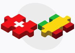 Switzerland and Mali Flags - stock illustration