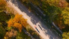 4K Aerial: Recreational Biking in Countryside Stock Footage