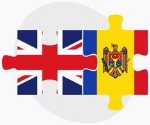 United Kingdom and Moldova Flags - stock illustration