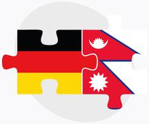 Germany and Nepal Flags Stock Illustration