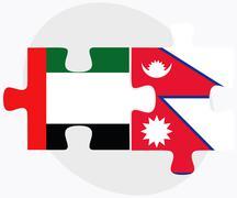 United Arab Emirates and Nepal Flags Stock Illustration