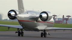Plane on landing strip Stock Footage