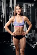 Beautiful smiling athletic woman at the gym - stock photo