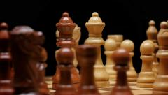Two Queens Face Off on a Spinning Chess Game Board Stock Footage