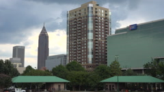 An establishing shot at dusk of Atlanta, Georgia. Arkistovideo
