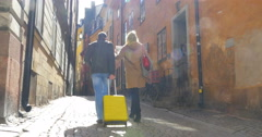 Touristic walk in Old Town of Stockholm - stock footage