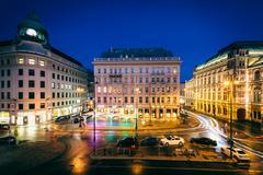 Stock Photo of View of Albertinaplatz at night, in the Inner Stadt, Vienna, Austria.