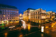 View of Albertinaplatz at night, in the Inner Stadt, Vienna, Austria. - stock photo