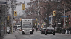 Commercial Delivery Truck Downtown Stock Footage