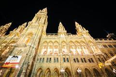 Rathaus at night, at Rathausplatz, in Vienna, Austria. - stock photo