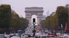 Arc de Triomphe and Champs-Elysees Medium Shot Stock Footage