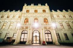Stock Photo of Exterior of Belvedere Palace at night, in Vienna, Austria.