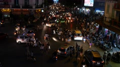 Stock Video Footage of busy city traffic time lapse night lights crowd cars people chaos 4k