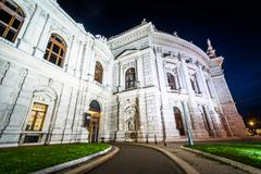 Burgtheater at night, in Vienna, Austria. - stock photo