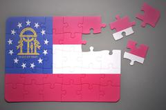 Stock Illustration of puzzle with the flag of georgia state