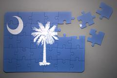 puzzle with the flag of south carolina state - stock illustration