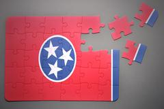 puzzle with the flag of tennessee state - stock illustration