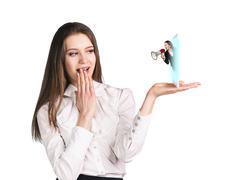 Business woman speak to the cell phone - stock photo
