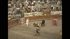 Vintage 16mm film, 1955, Mexico, bullfighting violent Stock Footage