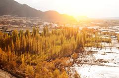 Indus River in sunrise - stock photo