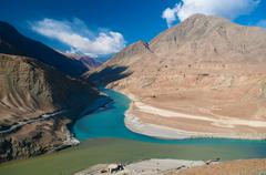 Zanskar and Indus rivers view - stock photo