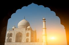 Taj Mahal archway view - stock photo