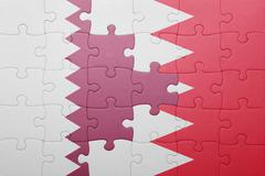 puzzle with the national flag of bahrain and qatar - stock illustration