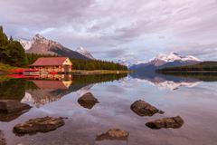 Maligne Lake and Boathouse at Sunset, Jasper National Park, Canada - stock photo